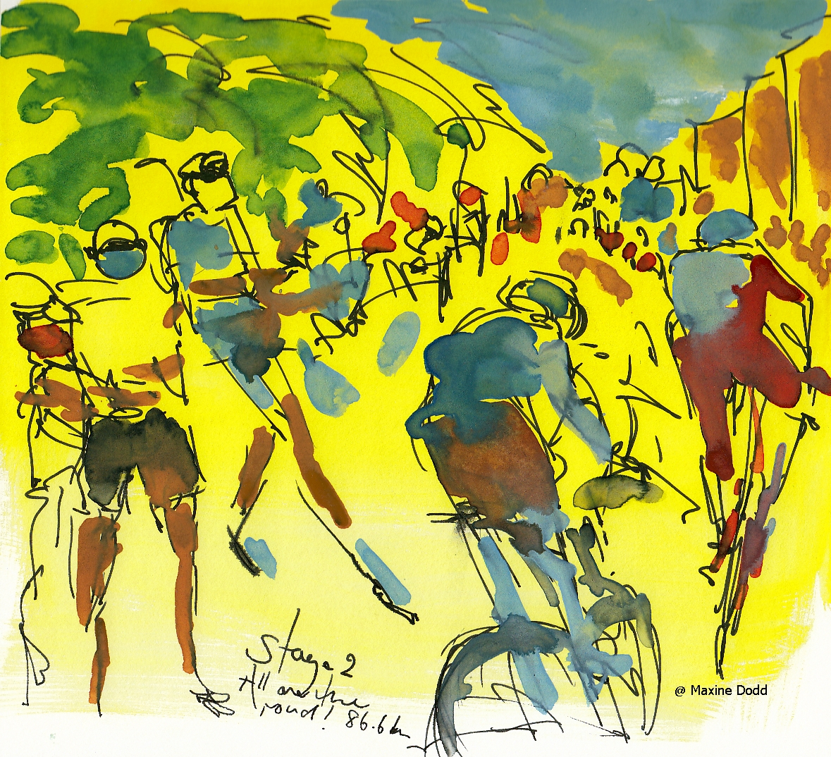 People all over the road - from Stage 2 - watercolour, pen and ink painting by Maxine Dodd
