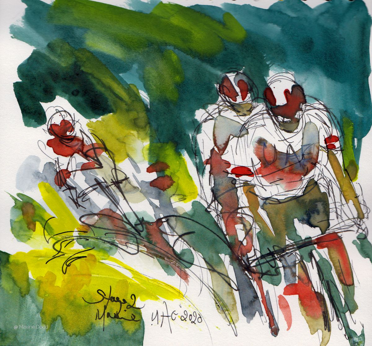 Tour de France 2020 - Stage 2: Team UAE, watercolour, pen and ink by Maxine Dodd