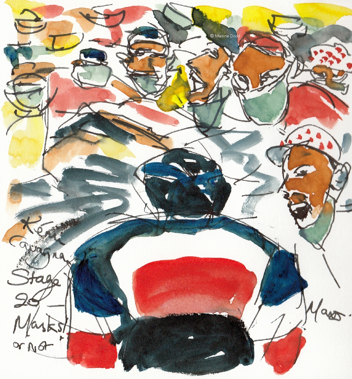 Masks - or not! Watercolour, pen and ink, by Maxine Dodd