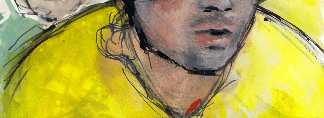 Start line reflections: Primož Roglič, watercolour, pen and ink by Maxine Dodd