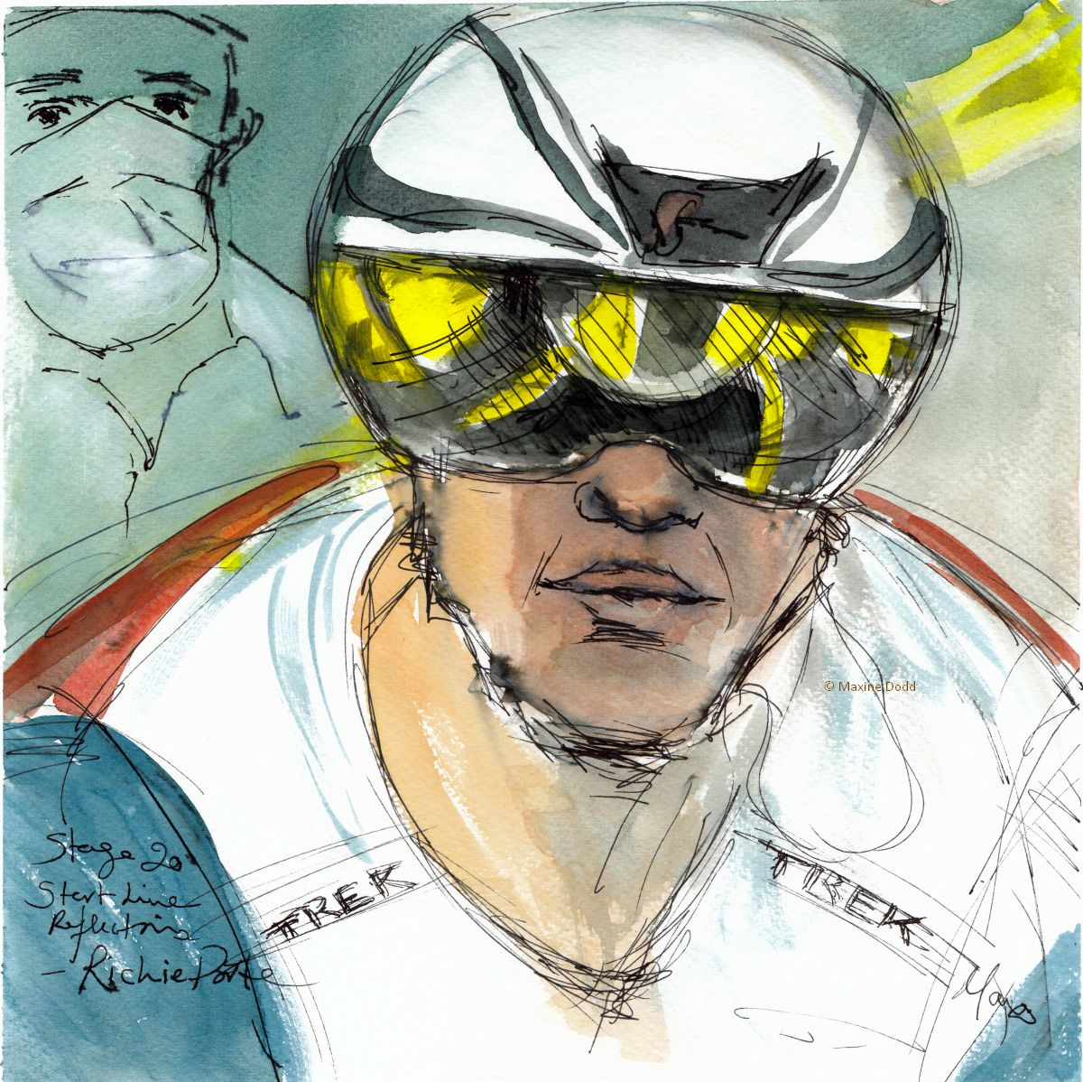 Start line reflections-Richie Porte, watercolour, pen and ink, by Maxine Dodd