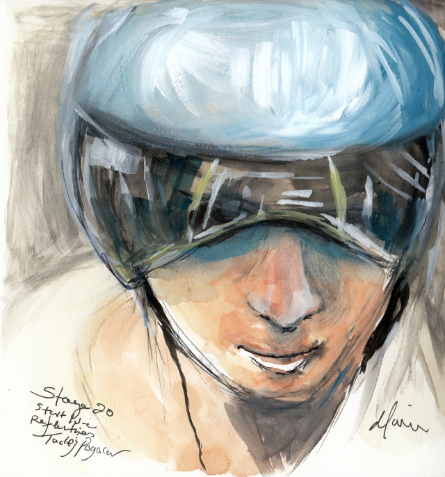 Start line reflections: Tadej Pogačar, watercolour, pen and ink by Maxine Dodd
