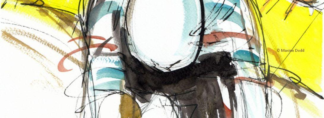 Tadej Pogačar wins the Tour de France! Watercolour, pen and ink by Maxine Dodd