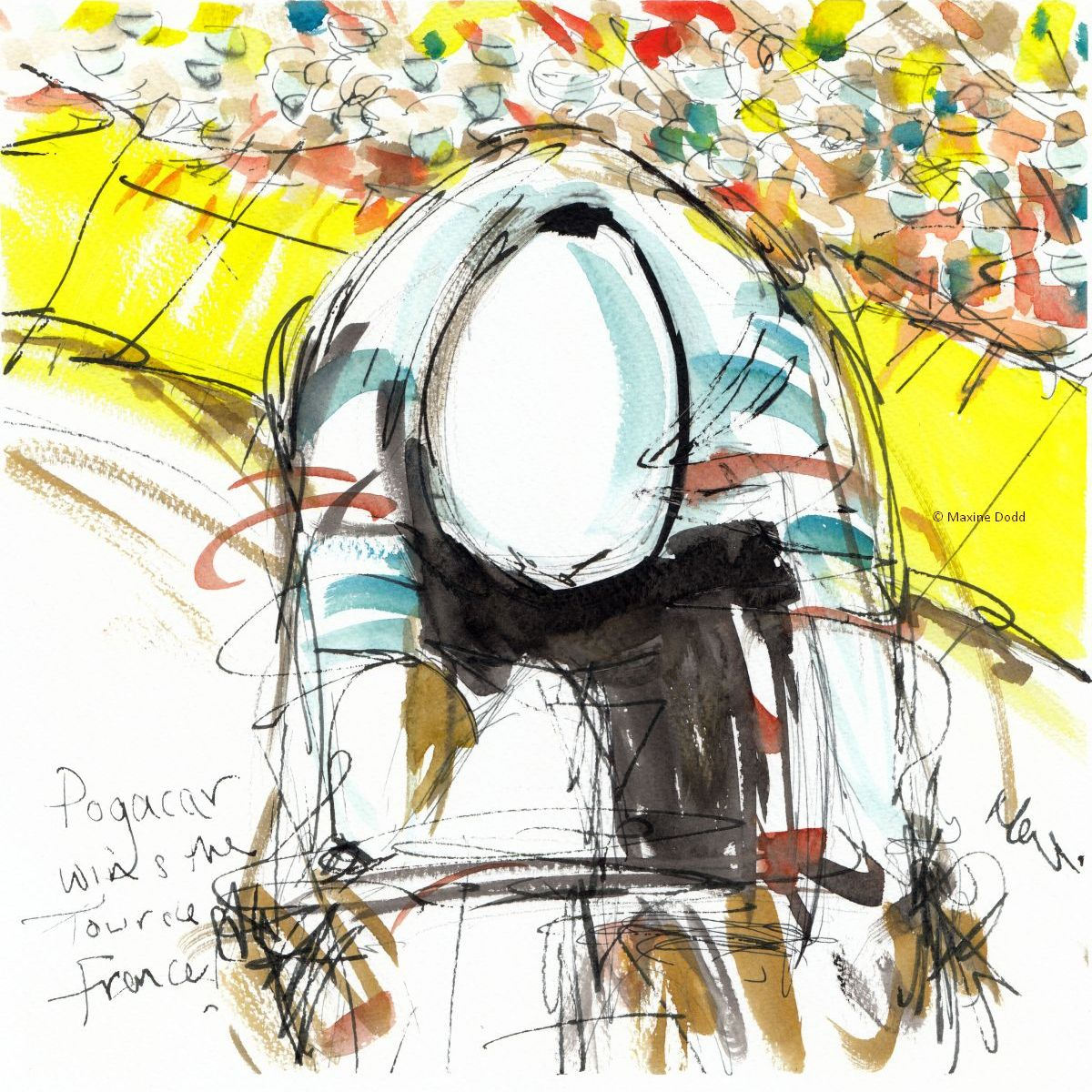 Tadej Pogačar wins the Tour de France! Watercolour, pen and ink by Maxine Dodd