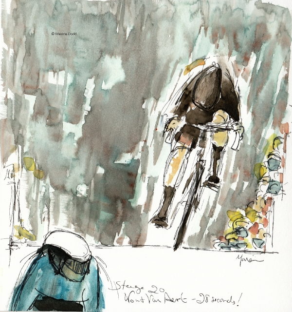 Wout Van Aert - 28 seconds, watercolour, pen and ink by Maxine Dodd
