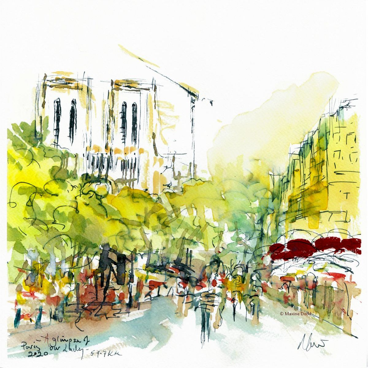 Stage 21 - Paris, A glimpse of Our Lady, watercolour, pen and ink by Maxine Dodd