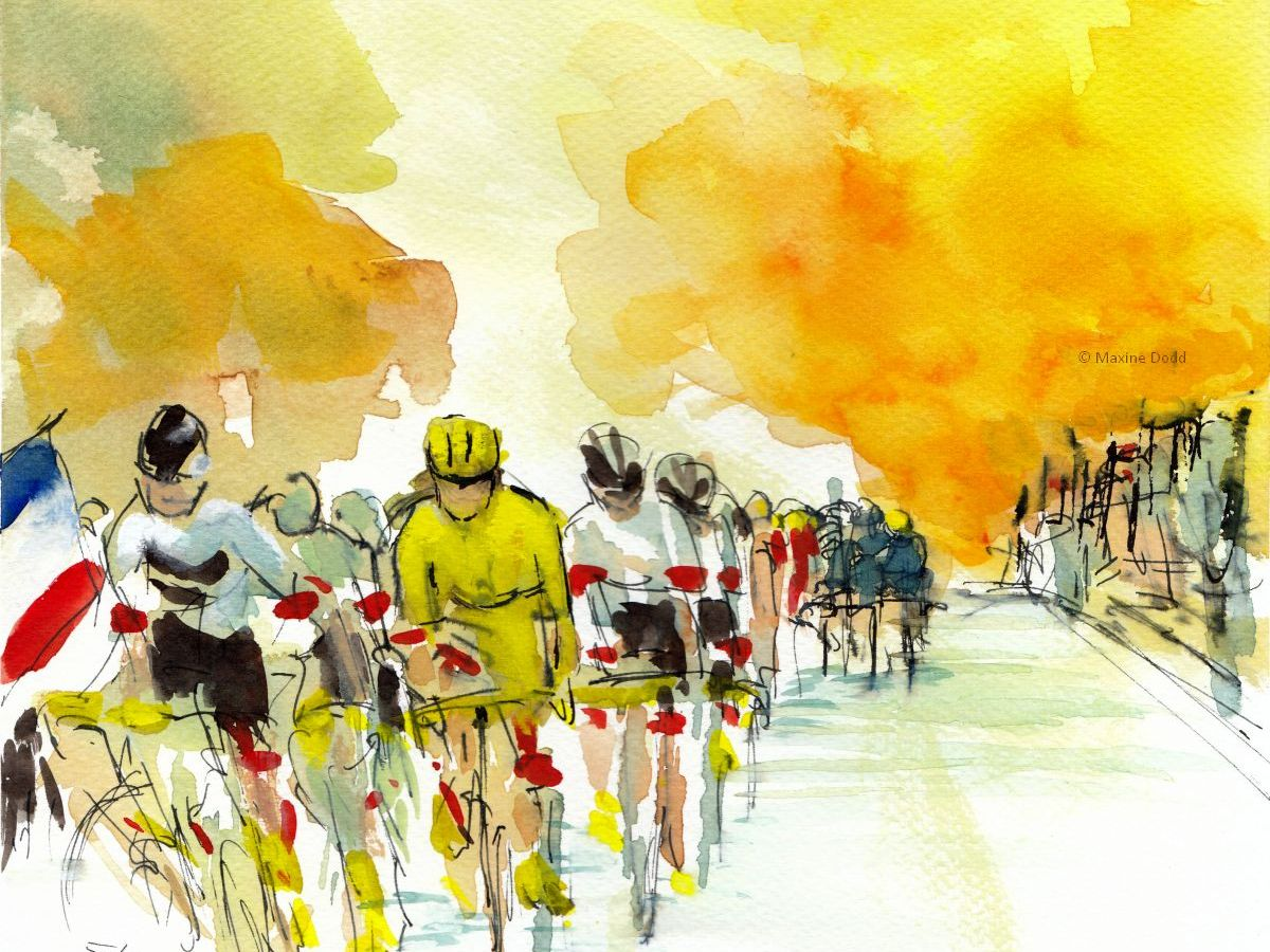 Stage 21, Paris - Golden Day, watercolour, pen and ink by Maxine Dodd