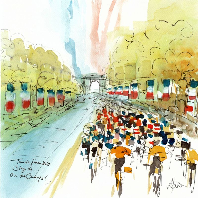Stage 21, Paris - On the Champs! Watercolour, pen and ink by Maxine Dodd