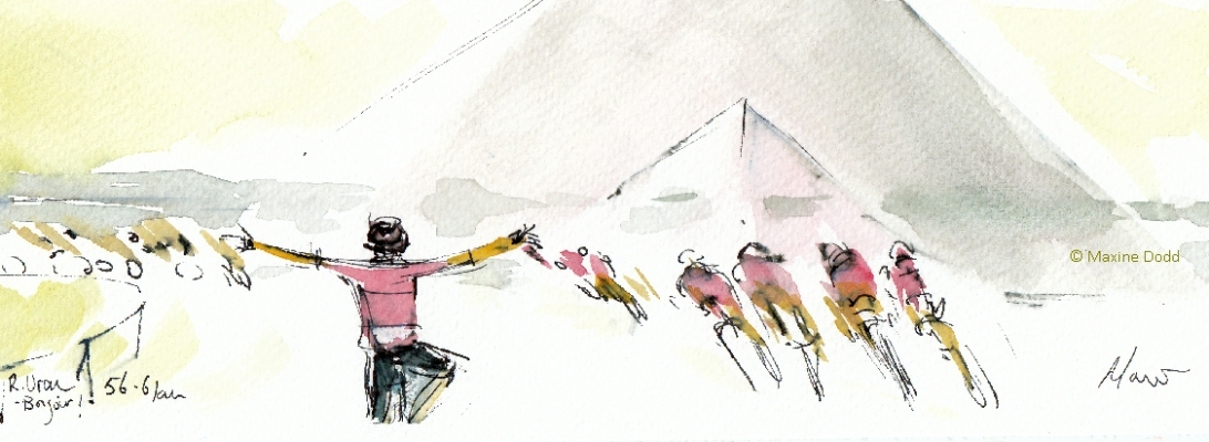 Stage 21, Rigoberto Uran, 'Bonjour Paris'! Watercolour, pen and ink by Maxine Dodd