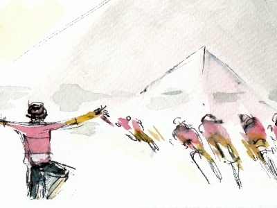Stage 21, Rigoberto Uran, 'Bonjour Paris'! Watercolour, pen and ink by Maxine Dodd
