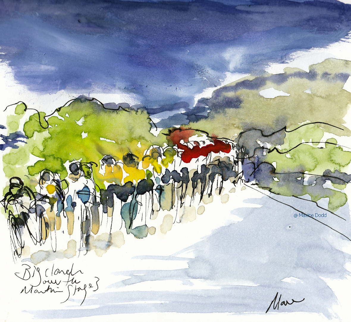 Big clouds over the mountains - watercolour, pen and ink by Maxine Dodd