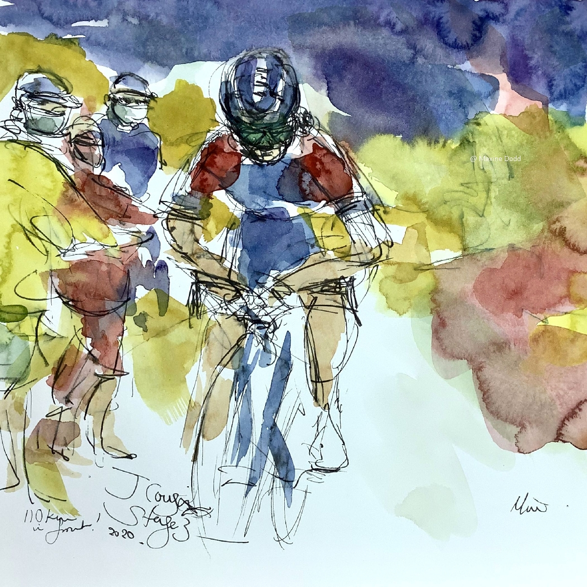 Jérôme Cousin,110Km up front watercolour, pen and ink by Maxine Dodd