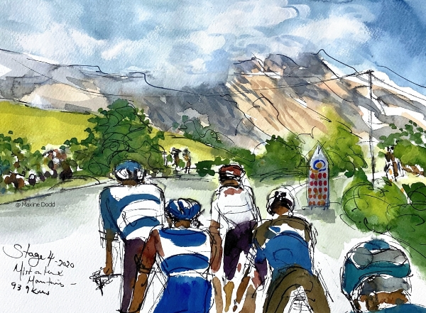 Mist on the mountains, watercolour, pen and ink with gouache, by Maxine Dodd