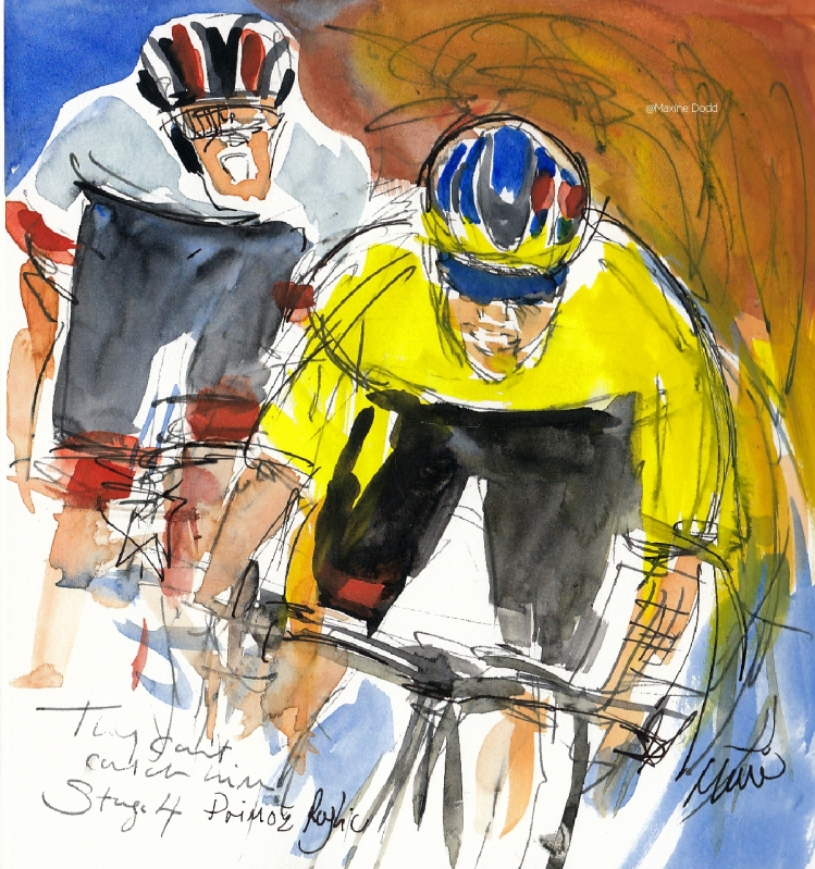 They can't catch him! Primož Roglič, watercolour, pen and ink by Maxine Dodd