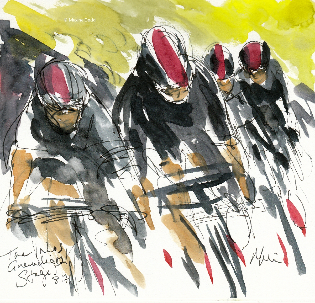 Ineos Grenadiers, 8.7km, watercolour, pen and ink by Maxine Dodd