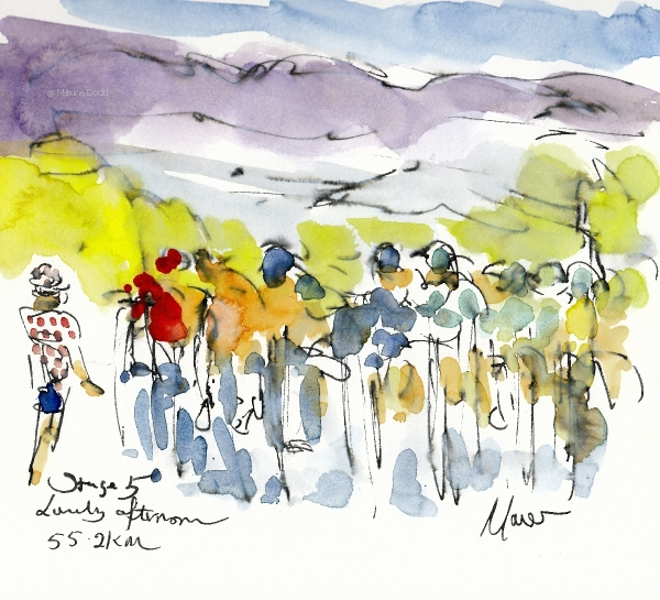 Lovely afternoon, 55.2km watercolour, pen and ink by Maxine Dodd