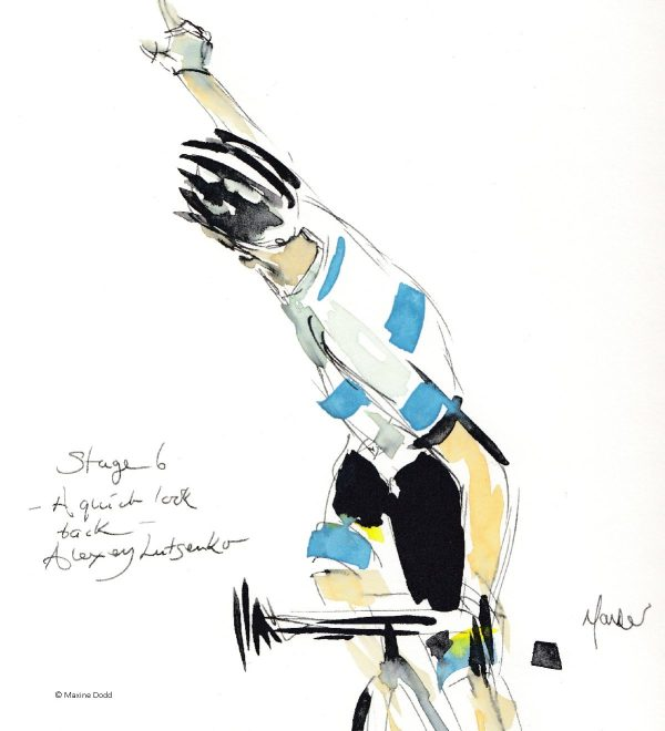 A quick look back, Alexy Lutsenko, watercolour, pen and ink by Maxine Dodd