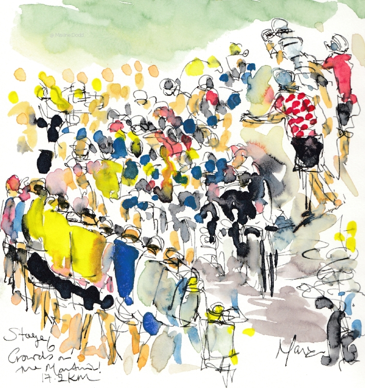 Crowds on the mountain, watercolour, pen and ink by Maxine Dodd