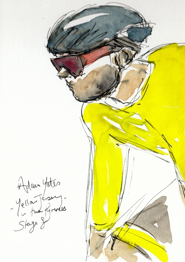 Yates in Yellow, watercolour, pen and ink, by Maxine Dodd