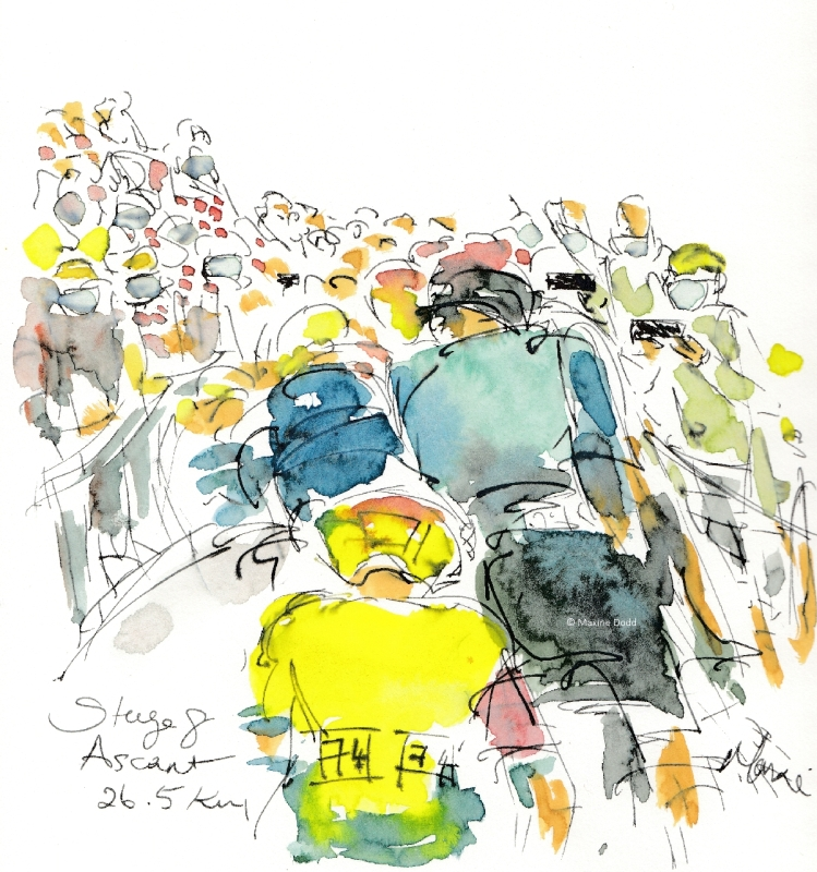 Stage 8 Ascent, watercolour, pen and ink by Maxine Dodd