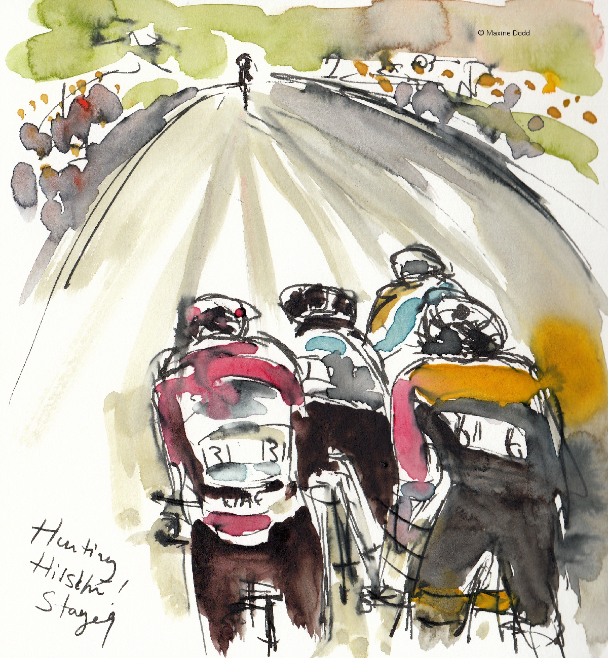 Hunting Hirschi, watercolour, pen and ink, by Maxine Dodd