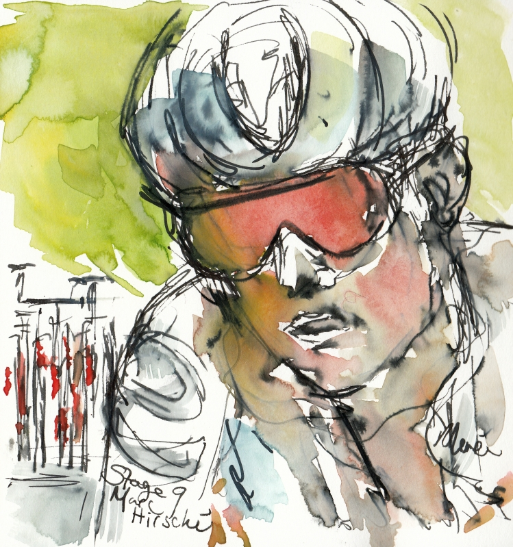 Marc Hirschi, watercolour, pen and ink, by Maxine Dodd
