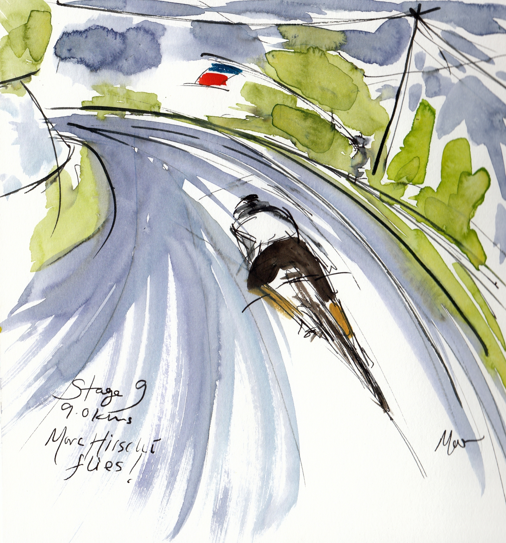 Marc Hirschi flies! watercolour, pen and ink by Maxine Dodd