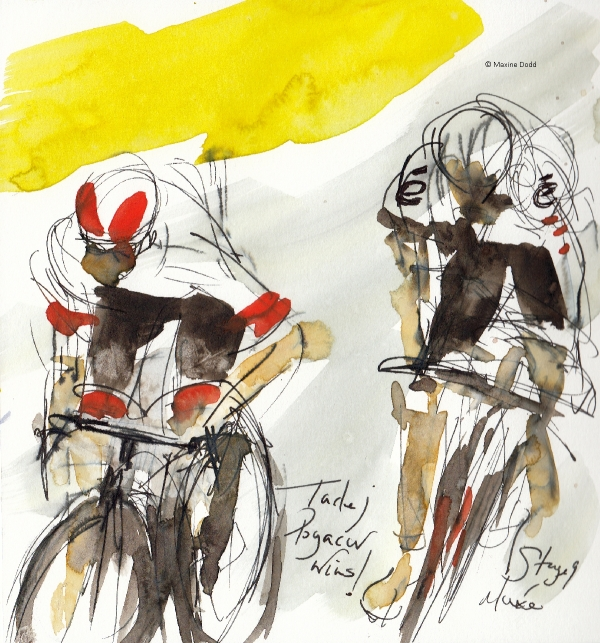 Tadej Pogačar wins! Watercolour, with pen and ink by Maxine Dodd