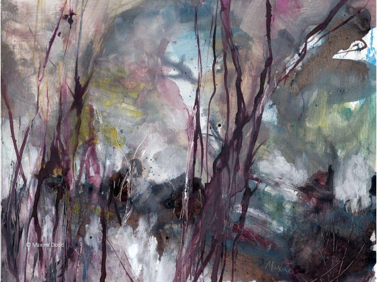 Where the pheasants live... mixed media art by Maxine Dodd