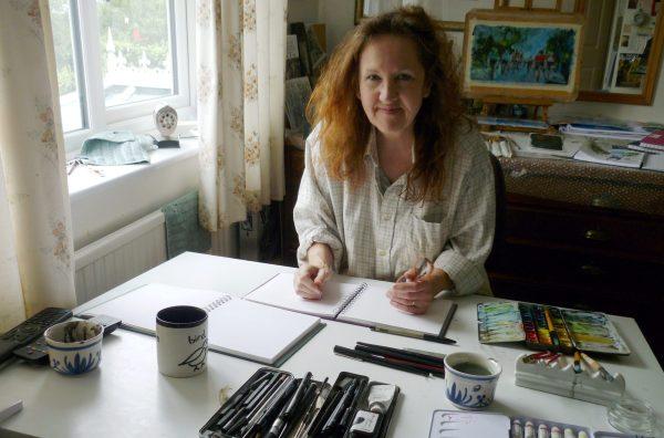 Maxine Dodd - artist in her studio
