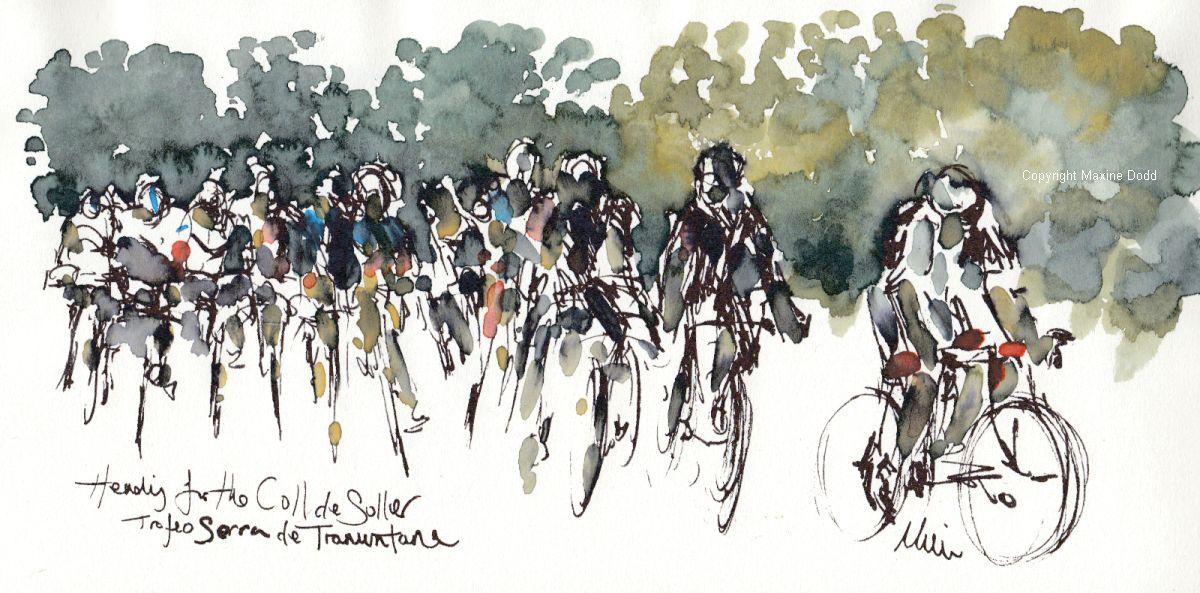 Watercolour by Maxine Dodd - Heading to the Coll de Soller, Trofeo Serra de Tramuntana