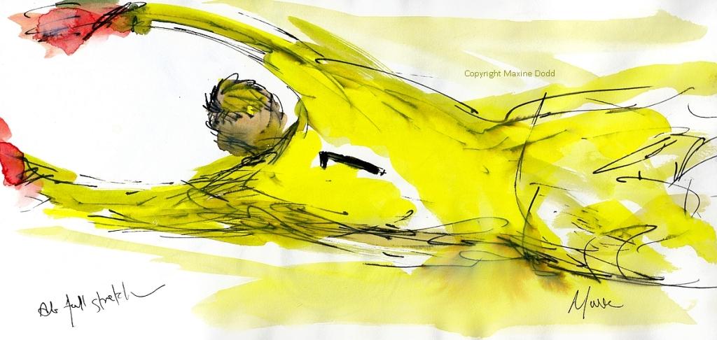 Maxine Dodd painting - Kasper at full stretch!