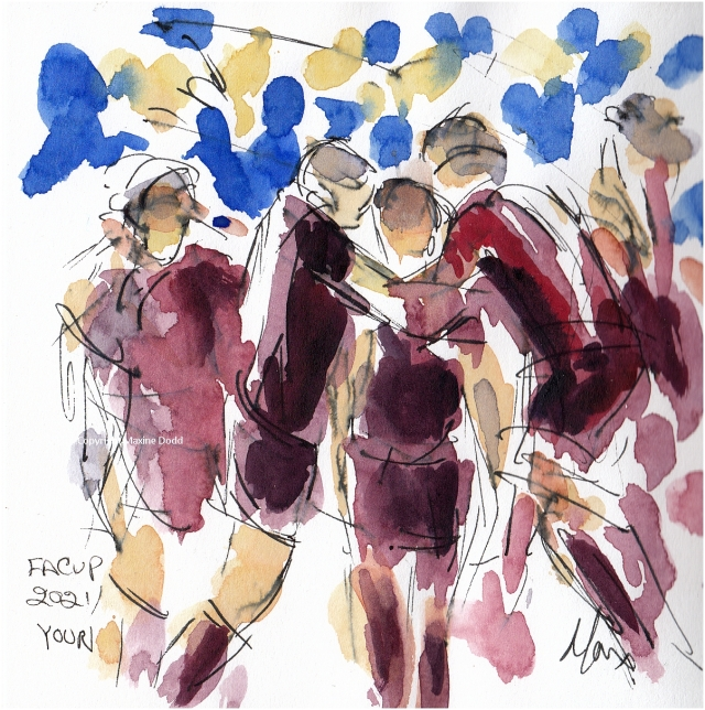 Maxine Dodd painting - Youri - team mobbing Youri after his goal