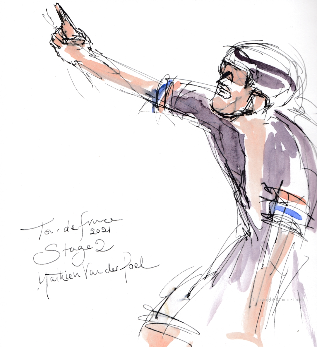 Tour de France 2021 - Stage 2, Mathieu van der Poel, original watercolour painting Maxine Dodd