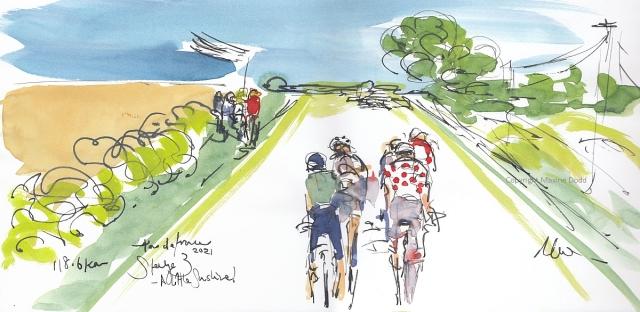 Tour de France 2021 - Stage 3, A little sunshine! Original watercolour painting Maxine Dodd
