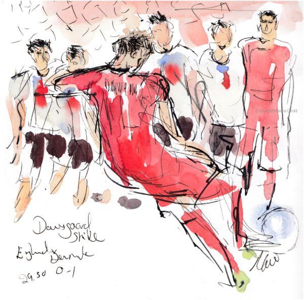 Euros 2021 - Semifinal, England v Denmark: Dansgaard Strike, original watercolour painting Maxine Dodd