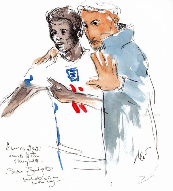 Euros 2021 - Final, England v Saka and Southgate - a bad decision, Original watercolour painting Maxine Dodd