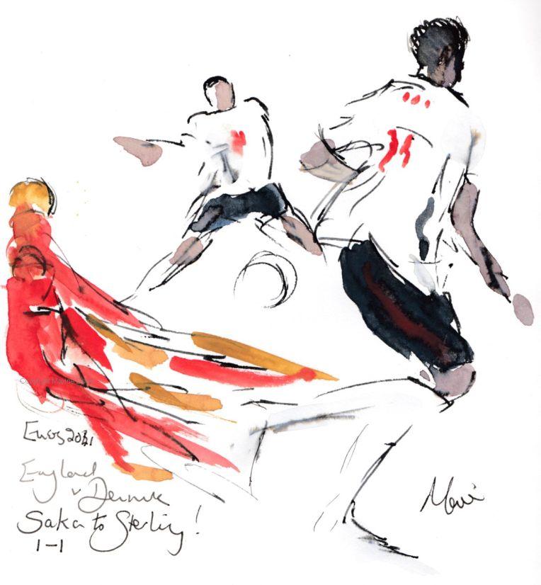 Euros 2021 - Semifinal, England v Denmark: Saka to Sterling!Original watercolour painting Maxine Dodd