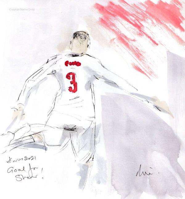 Euros 2021 - Final, England v Italy: Luke Shaw strike, Original watercolour painting Maxine Dodd