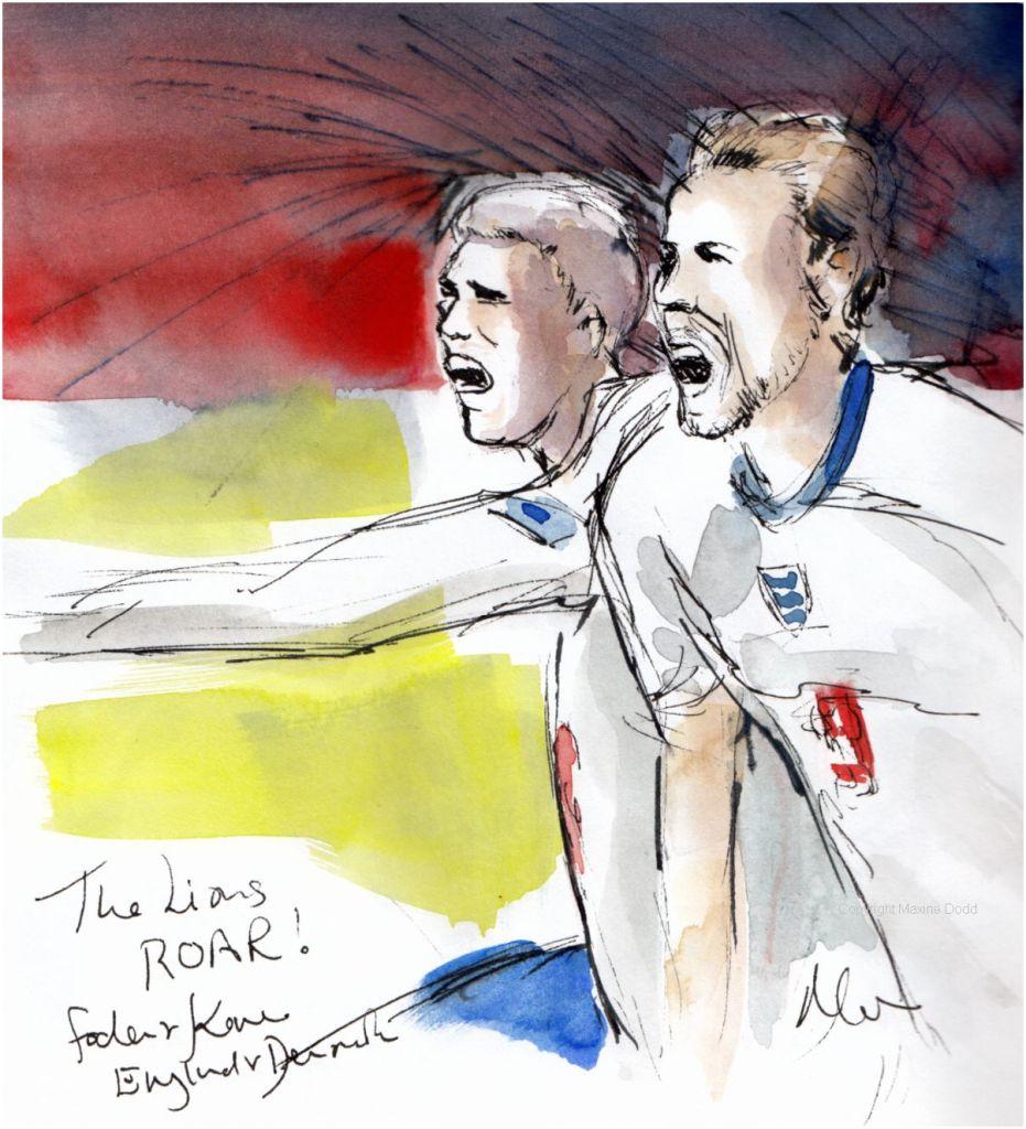 Euros 2021 - Semifinal, England v Denmark: The Lions Roar! Original watercolour painting Maxine Dodd