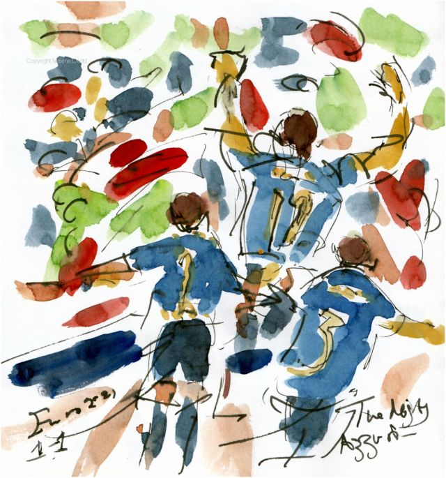 The Mighty Azzuri, watercolour, with pen and ink by Maxine Dodd
