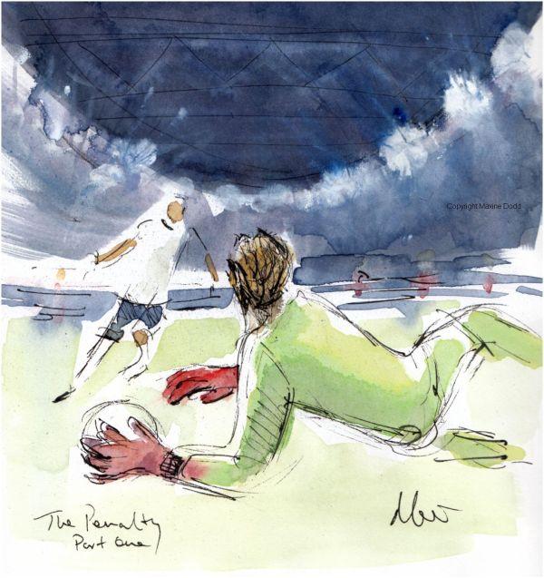 Euros 2021 - Semifinal, England v Denmark: The Penalty, Part 1, Original watercolour painting Maxine Dodd