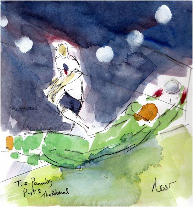 Euros 2021 - Semifinal, England v Denmark: The Penalty, Part 2, Original watercolour painting Maxine Dodd