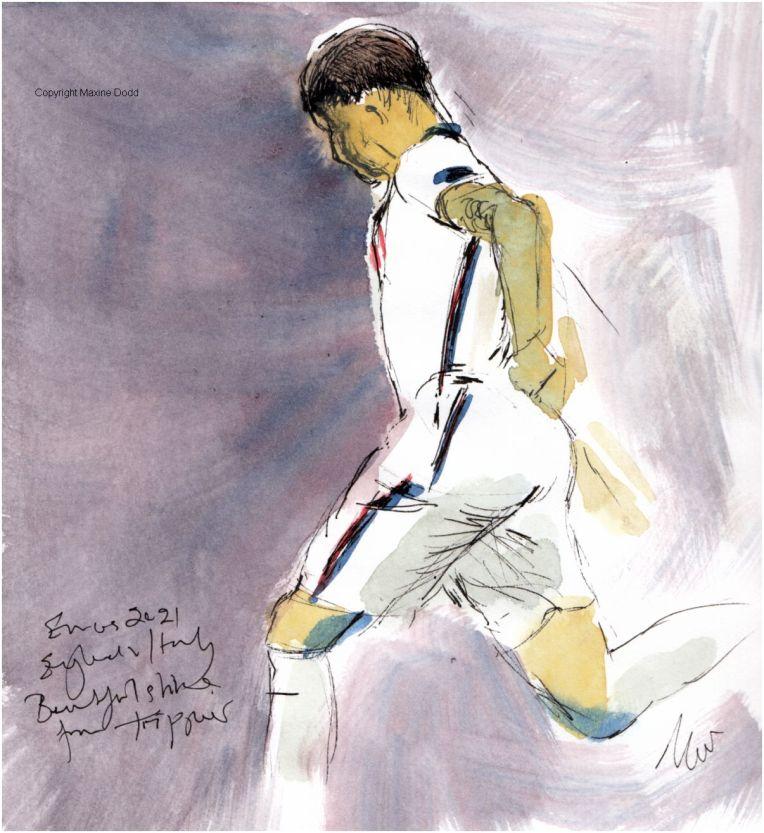 Euros 2021 - Final, England v Italy: Kieran Trippier pass, Original watercolour painting Maxine Dodd