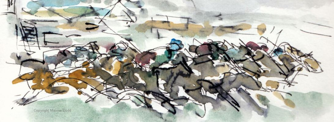 Aintree - Grand National, The Start - SOLD, original watercolour painting Maxine Dodd