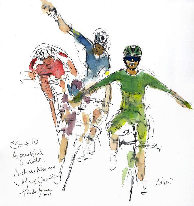 Tour de France 2021 - Stage 10, A beautiful leadout, original watercolour by Maxine Dodd