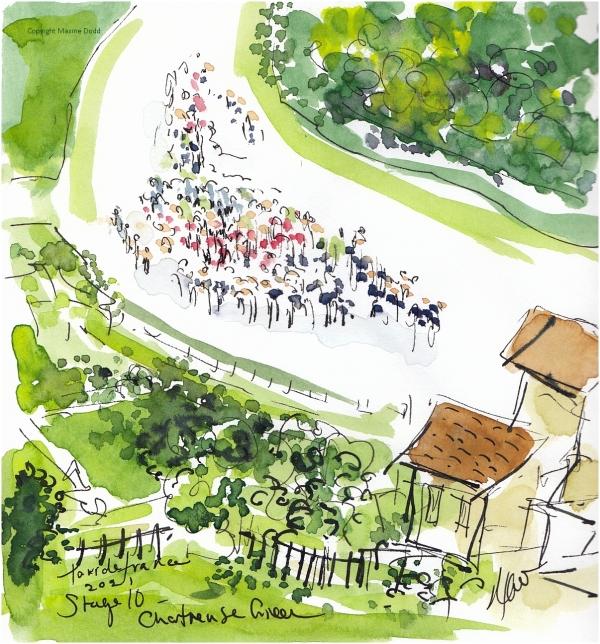 Tour de France 2021 - Stage 10, Chartreuse Green - Original watercolour painting Maxine Dodd