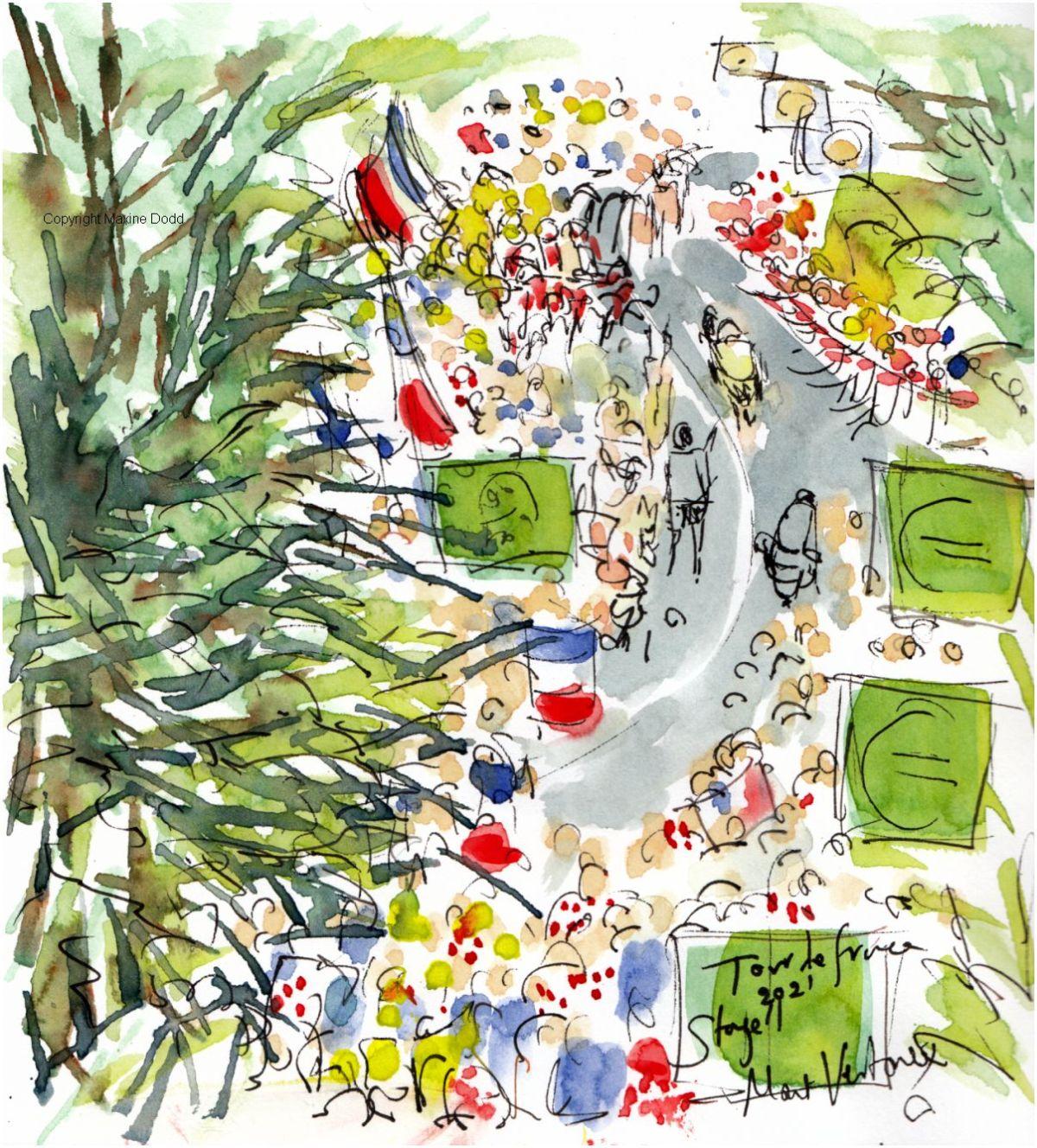 Tour de France 2021 - Stage11, Ventoux reality, original watercolour painting Maxine Dodd