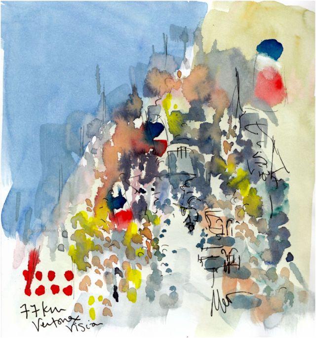 Tour de France 2021 - Stage 11, Ventoux Vision, original watercolour by Maxine Dodd