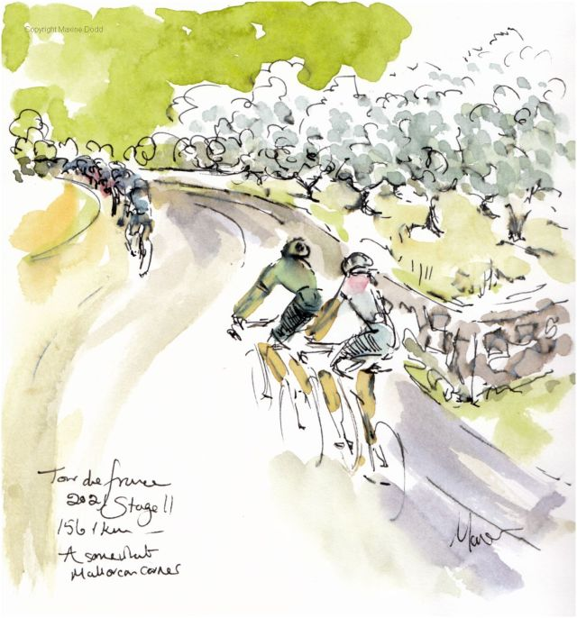 Tour de France 2021 - Stage11, A somewhat Mallorcan corner, original watercolour painting Maxine Dodd